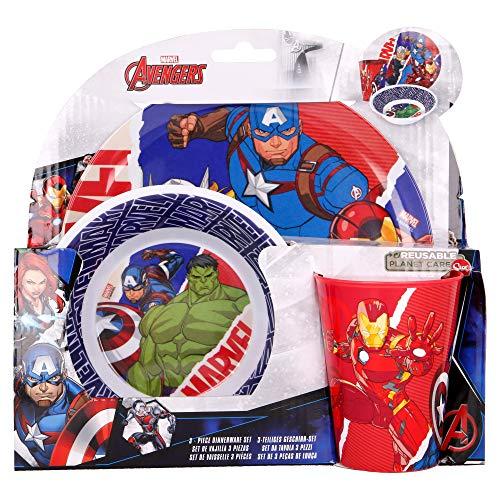 LOS Vengadores - Marvel | Set Vajilla de Melamina Infantil - Resistente I Servicio de Mesa Libre de BPA para niños y bebés - 3 Piezas: Vaso de Beber, Plato y Cuenco