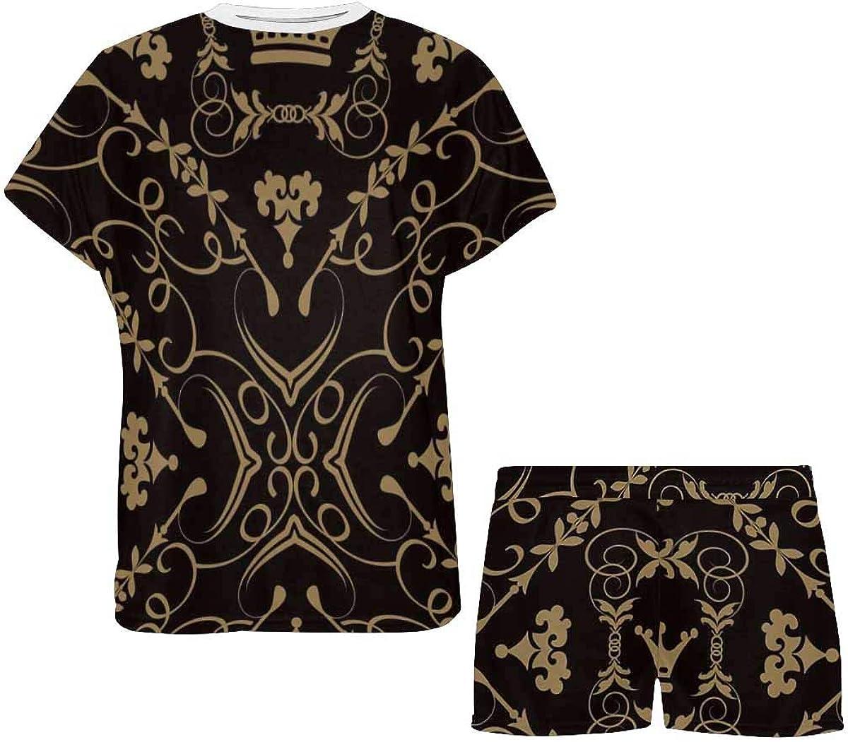 INTERESTPRINT Damask Background Women's Breathable 2 Piece Shorts Pajama Sleepwear Set