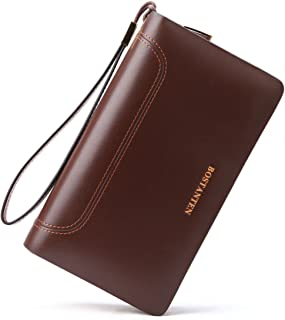 BOSTANTEN Leather Wallets Clutch Slim Credit Card Holder Wallet for Men Brown Size: One Size