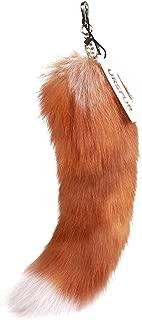 URSFUR 17 inches Real Fox Tail Keychain Cosplay Fur Toy Handbag Accessories Golden Key Chain Ring Hook Tassels