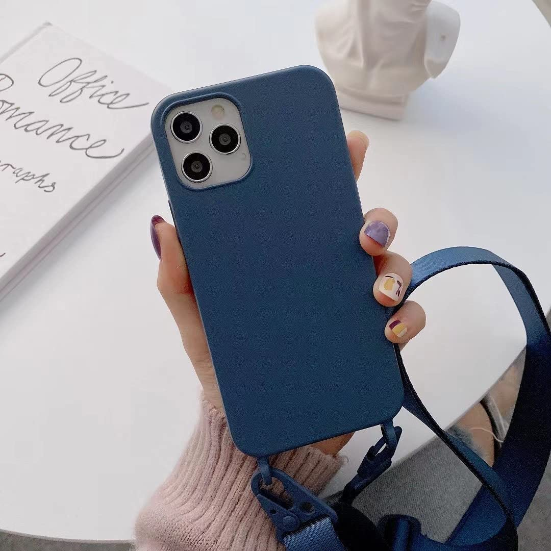 TY-Box Portable Necklace Silicone Phone Cover Compatible with iPhone 12 Model, Soft Cell Phone Protective Cover+Adjust Crossbody Lanyard Case for iPhone 12 Pro Max 6.7 inch (Blue, 12 Pro Max)