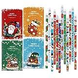 HOWAF 24pcs Mini Bloc de Notas de Navidad y Navidad lápiz de Madera con Borrador para Niños Regalos para Navidad Fiestas Cumpleaños Infantiles Relleno piñatas Premios Escolares
