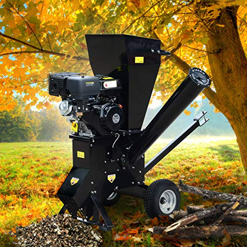 BRAST Benzin Häcksler Gartenhäcksler 11kW (15PS) 420ccm Deichsel 22 Messer extra große Räder Schredder Motor-Häcksler