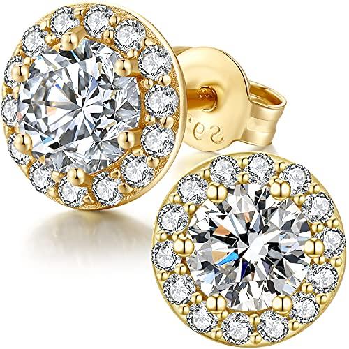 Halo Earrings,Pendientes Hombre,Pendientes Diamante Halo,Pendientes Hombre Plata,Pendientes Circonita Plata Halo,Pendientes Plata Diamante Hombre Brillantes,Pendientes Zirconita Plata Oro Blanco 10mm