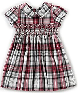 Edgehill Collection Toddler Girl's Red Plaid Dress Cotton, 3T