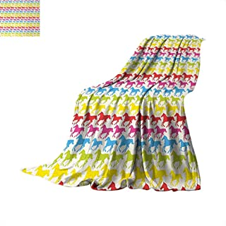 Horses Weave Pattern Extra Long Blanket Rainbow Colors Giddy Up Pony Animal Art Retro Design Pattern Abstract Wild and Free Custom Design Cozy Flannel Blanket 90