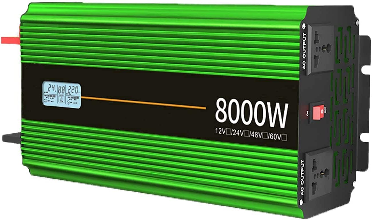 SGSG Inversor de Corriente para automóvil 8000W 10000W Inversor de Onda sinusoidal modificada DC 12V / 24V a AC 220V Convertidor de Voltaje, inversores solares con Pantalla LED para camión RV