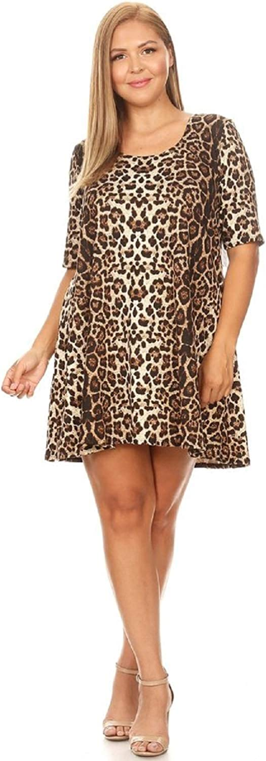 SWEETKIE Elbow Sleeve Trapeze Dress, Hits Mid Thigh with Three Quarter Sleeves