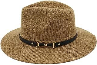 Unisex Panama Hat with Black Band Straw Hat for Men Women Classical Jazz Cap Wide Brim Fedora Summer Sun Beach Cap` TuanTuan (Color : Coffee, Size : 56-58CM)