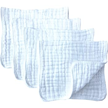 """Muslin Burp Cloths 4 Pack Large 20"""" by 10"""" 100% Cotton 6 Layers Extra Absorbent and Soft by Synrroe"""