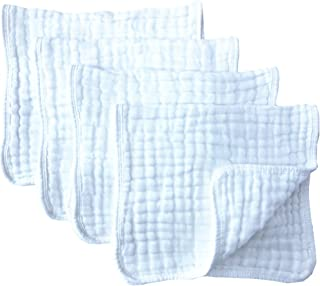 "Muslin Burp Cloths 4 Pack Large 20"" by 10"" 100% Cotton 6 Layers Extra Absorbent.."