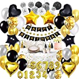 Bea's Party Decoracion cumpleaños Hombre Mujer Globos Dorados Feliz cumpleaños Decoracion Globos de numeros Decoracion Fiesta Negro Dorado Plata Vajilla Biodegradable 18 cumpleaños 30 40 50 años