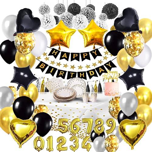 Bea's Party Addobbi Feste di Compleanno Adulti Decorazioni Argento Nero Oro stoviglie biodegradabili Buon Compleanno festoni Palloncini Elio Numeri 40 50 18 30 Anni Happy Birthday Kit Femmina