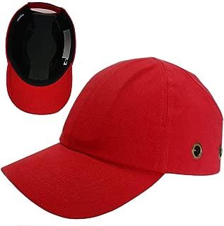 Red Baseball Bump Cap - Lightweight Safety hard hat head protection Cap