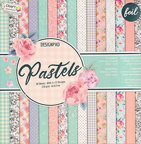 WSD Warenhandel Scrapbooking Papier Vintage Motivblock (Glanz #6) Bastelpapier 230gr/qm - 2 x 15 Motive (1 x glänzend, 1 x matt)