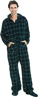 Men's Warm Fleece One Piece Footed Pajamas, Adult Onesie with Hood
