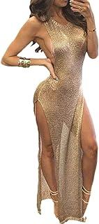 Vgvgh Vestido de noche de malla alta Sheer Mesh Sheer