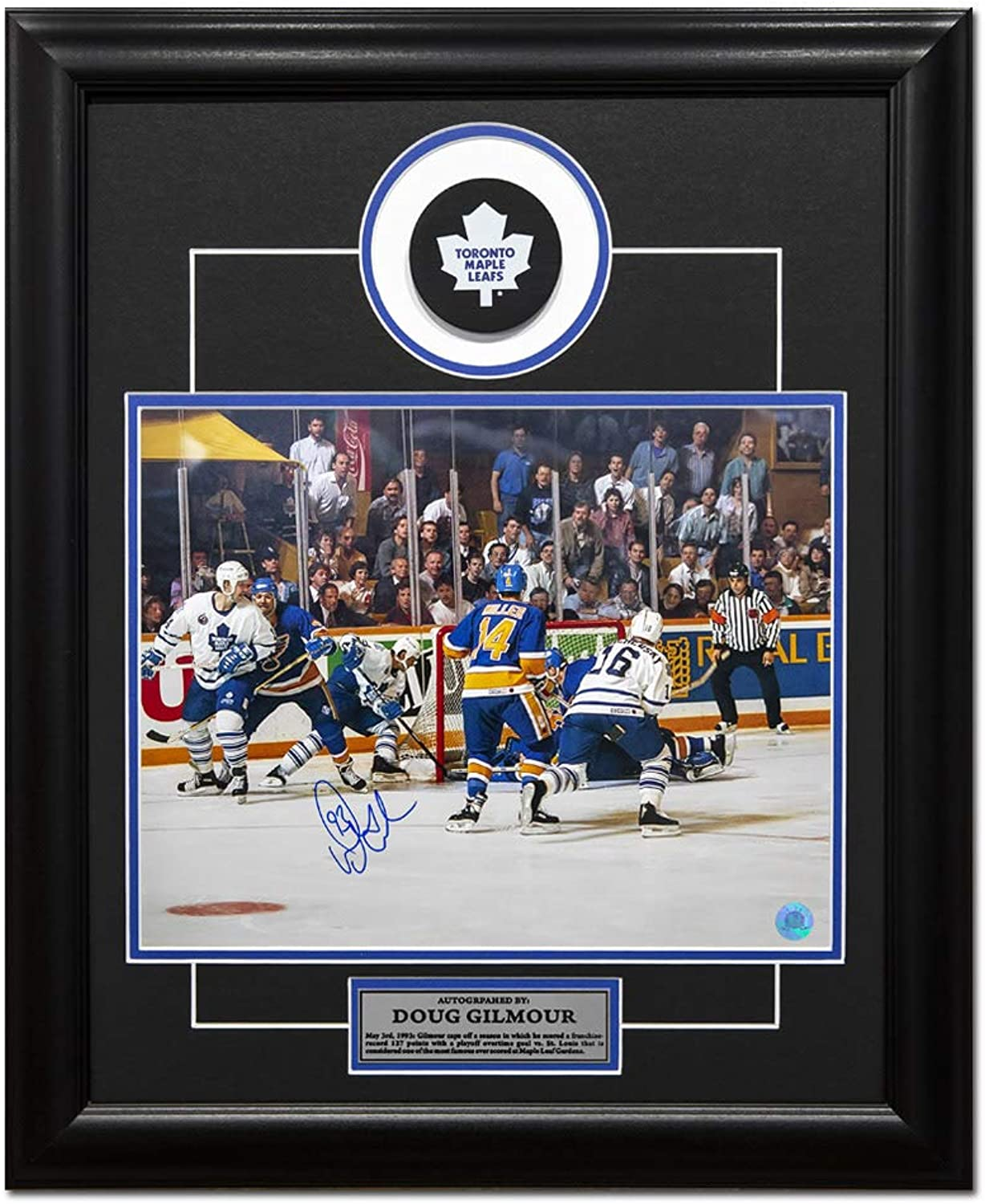 Doug Gilmour Tgoldnto Maple Leafs Autographed Wrap Around 19x23 Puck Frame