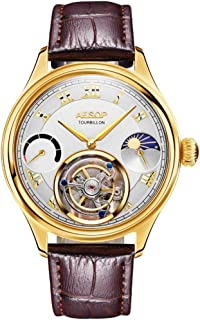 Aesop Men Mechanical Hand-Wind Real Tourbillon Business Dress Moon Phase Wrist Watch Leather Strap Gold White Brown