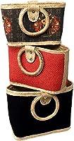Combo de 3 bolsos ARTESANALES de mano para mujer, Tejido de PALMA 100%, bolso para la playa, para ir de compras, para...