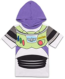 Disney Toy Story Boys Hooded Shirt Toy Story Costume Tee - Buzz Lightyear and Sheriff Woody
