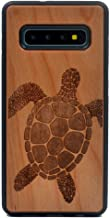 Galaxy S10 Plus Case, Natural Real Wood Carving Sea Turtle Pattern Covered TPU Rubber Shockproof Flexible Case for Samsung Galaxy S10 Plus (2019)