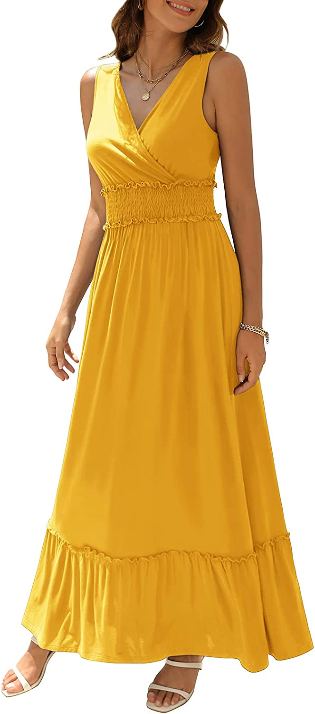 Zattcas Women Faux Wrap V Neck Sleeveless Smocked Waist Tiered Ruffle Maxi Dress