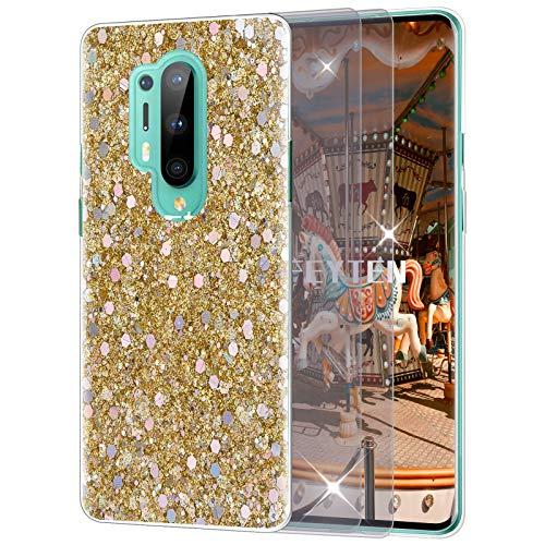 Feyten Kompatibel mit OnePlus 8 Pro Hülle mit HD-Schutzfolie [2 Stück], Bling Glänzend Glitzer Weich TPU Silikon Etui Cover Slim Case Schale Schutzhülle für OnePlus 8 Pro (Gold)