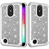 LG K10 2017 Case, K20 Plus Case,Vfunn [Evening Series] Colorful Glittering Elegant Protective Case Cover for LG K10 2017 Version with Pink Stylus Pen (Gray)
