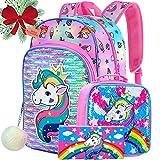 4PCS Unicorn Backpack for Girls, 16' Sequin Kids Bookbag and Lunch Box