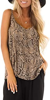 Swyss Women's V-Neck Tank Top Animal Snake Skin Graphic Print Casual Loose Cami Top