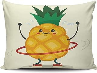 BERLK Lumbar Cute Pineapple Cartoon Doing Exercises with Hula Hoop 12x20 Inch Pillowcases Throw Pillow Cover Hidden Zipper One Sided Design Printed