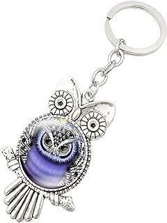 iQKA Retro Owl Time Gemstone Metal Keychain Glass Keyring Blessing Protection Talisman Charm Congratulatory Gift (F, One Size)