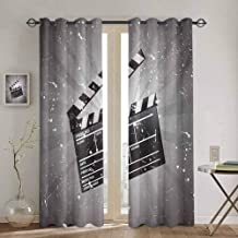 Movie Theater Heat Insulation Curtain Clapper Board on Retro Backdrop with Grunge Effect Director Cut Scene for Living Room or Bedroom W63 x L63 inch Grey Black White