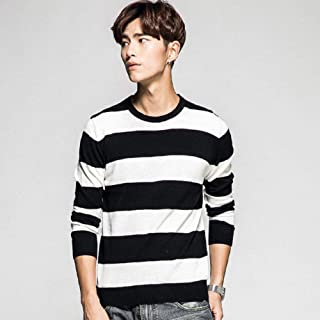 YANGPP Striped Men Sweater Long Sleeve Pullovers Knitted O Neck Pull Men Winter Clothes Knittwear Coats