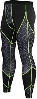 Men's Compression Pants Workout Leggings Elasticity Cool Dry Breathable Running Tights Basketball Sport Training Baselayer,Greenlines,M