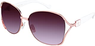 Jessica Simpson Women's J5254 Square Metal Sunglasses with Vented Temple  Enamel Temple Logo & 100% UV Protection, 63 mm