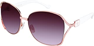 Women's J5254 Square Metal Sunglasses with Vented Temple Enamel Temple Logo & 100% UV Protection,...