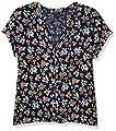 Lucky Brand Women's Short Sleeve V Neck Button Up Woven Mix Top, Navy Multi, XL