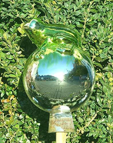 ELIAS Glashütte Original Rosenkugel Venezia Frosch auf Kugel 12 cm Limonengrün verspiegelt