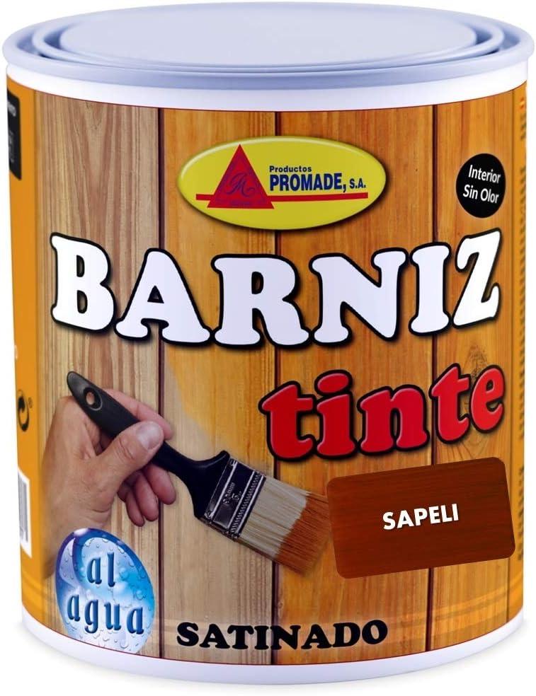 Promade - Barniz Tinte Satinado al Agua – Barniza, Decora y Protege Maderas de Interior -750 ml (Avellana)