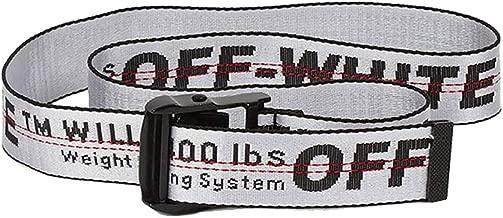 Off White industrial belt for dress yellow red white black golden belt for women and men (White)