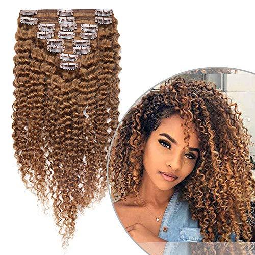 Extension Capelli Veri Ricci con Clip Afro 8 Fasce Extensions 20cm Double Weft Marrone con 18 Clips 100% Remy Human Hair Umani Brasiliani Full Head 95g #30 Castano Ramato Chiaro