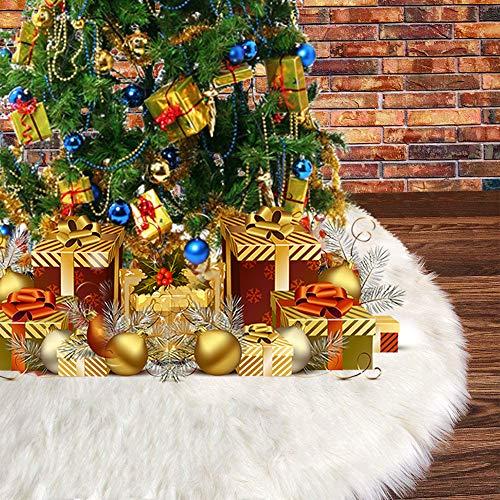 Jupe de Sapin de Noël, Blanc Peluche Neige Décorations d