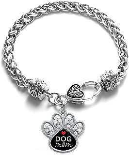 Silver Pave Paw Charm Bracelet with Cubic Zirconia Jewelry