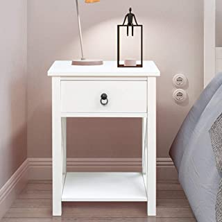 SSLine Wooden Nightstand with Drawer/Shelf White Finish Bedside End Table Sofa Chair Side Tables for Bedroom Living Room Storage Organizer