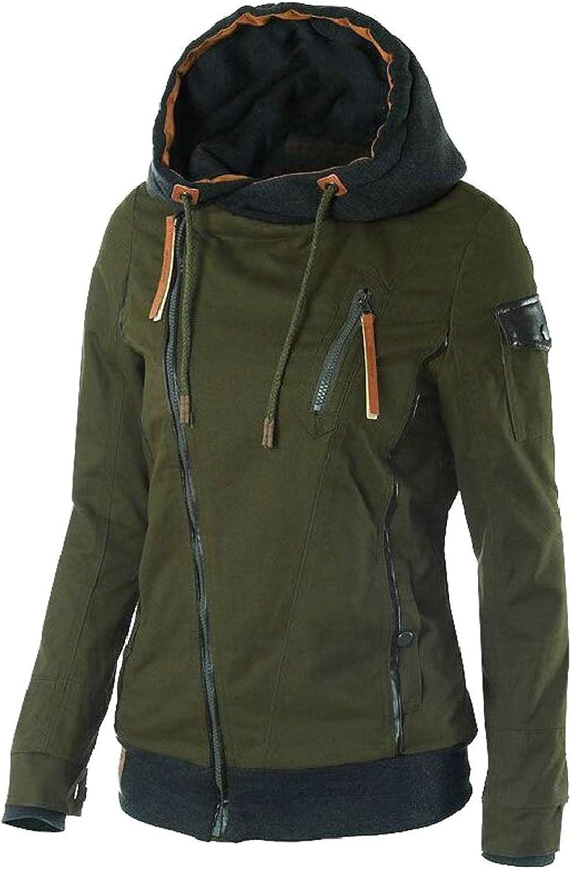 GAGA Women's Casual Oblique Zip Hoodie Jacket Coat Sweatshirt