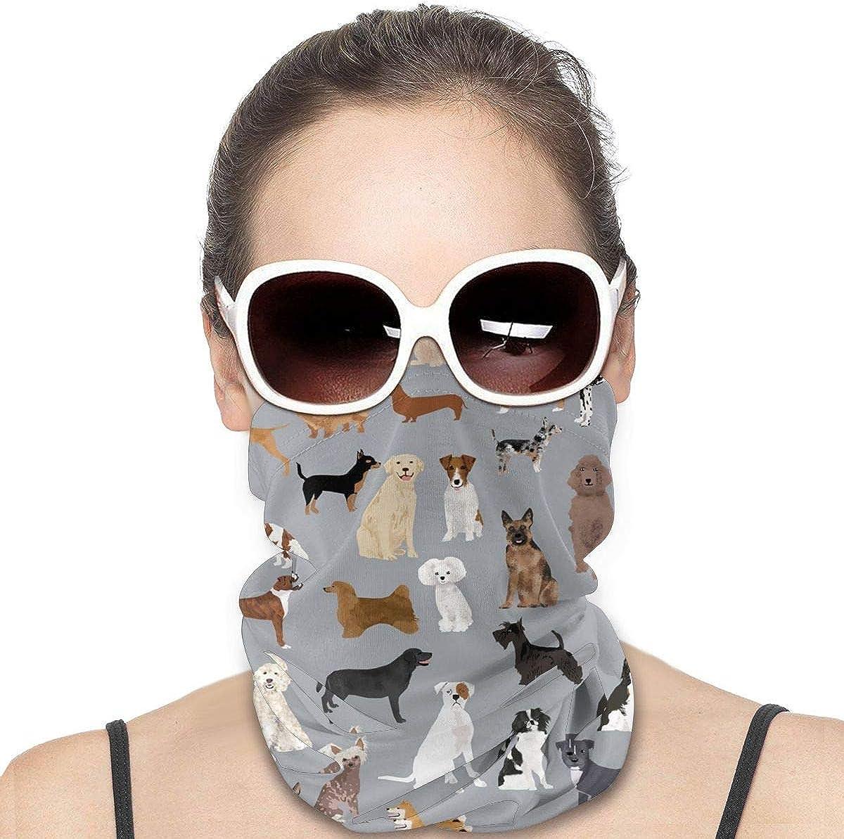 Tidyki Bandana Face Mask - Mixed Dog Lots of Dogs Art Print Pattern Grey Bandana Face Mask Ski Mask Neck Gaiter Head Bands Face Cover Headwear Neck Warmer for Men