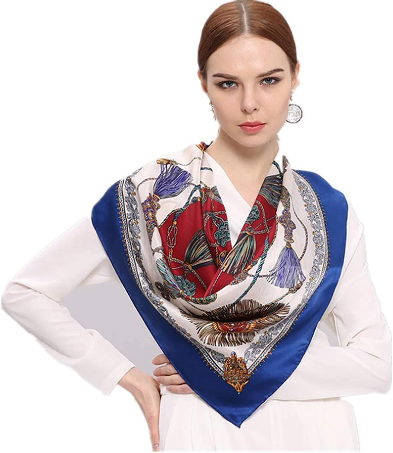 Women's Scarves Spring and Summer Silk Silk Big Square Scarf Classic Chain Silk Scarf European and American Ladies Long Fashion Scarf (color   bluee)