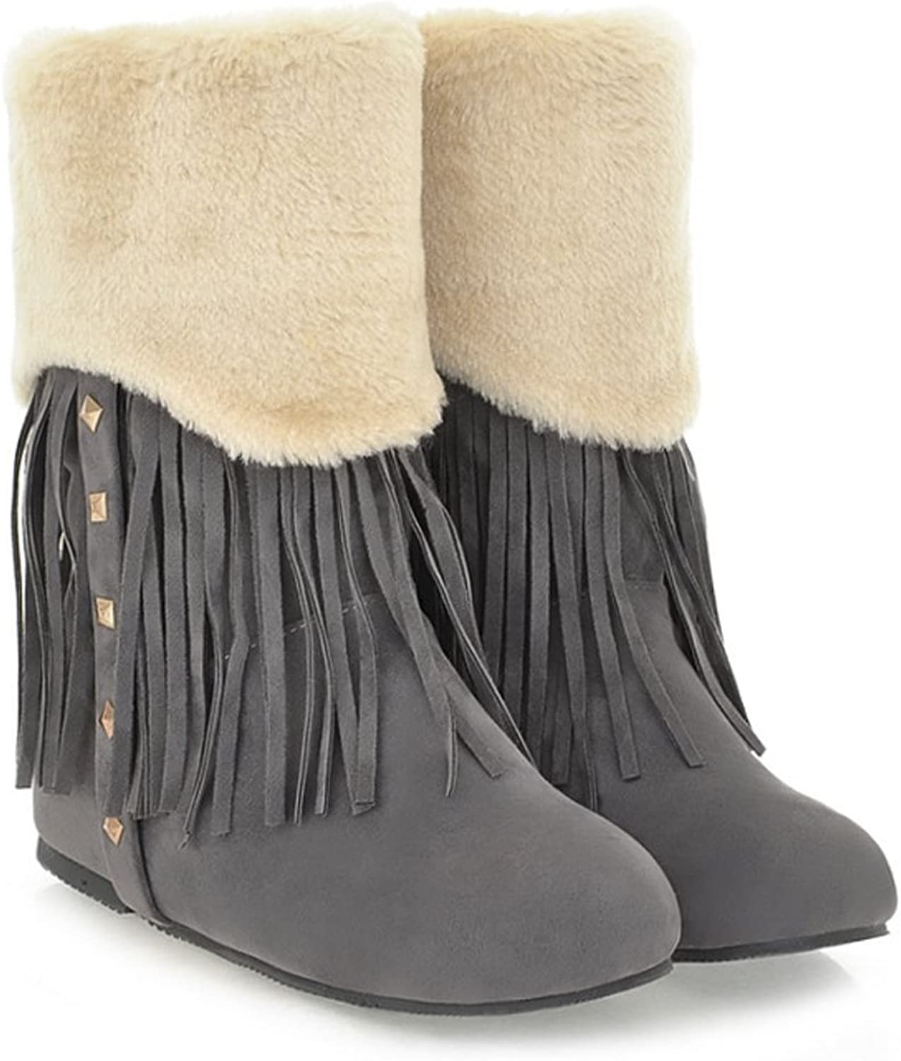 QZUnique Women Boots Increased Hidden Heel Flat Ankle Booties with Tassels and Rivets Mid-Calf Snow Boots